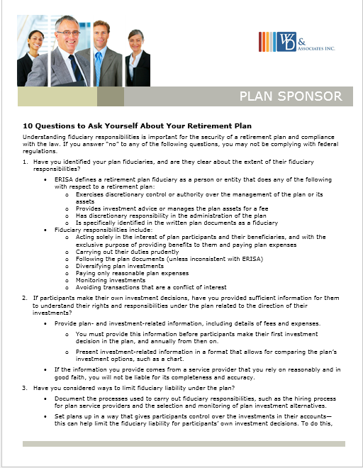 10 questions to employer based retirement plans