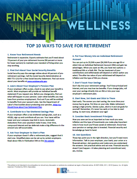 top 10 ways to save for retirement