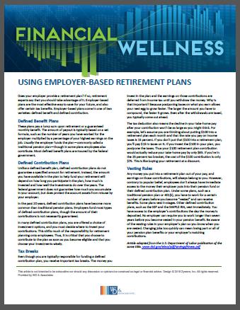 Using Employer based retirement plans