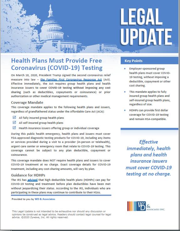 Healthplans covering coronavirus