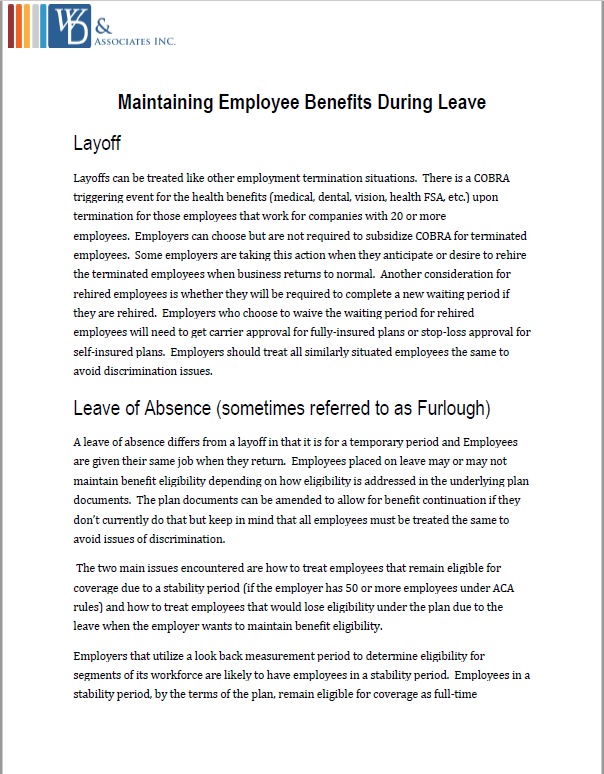 Maintaining Benefits During Leave