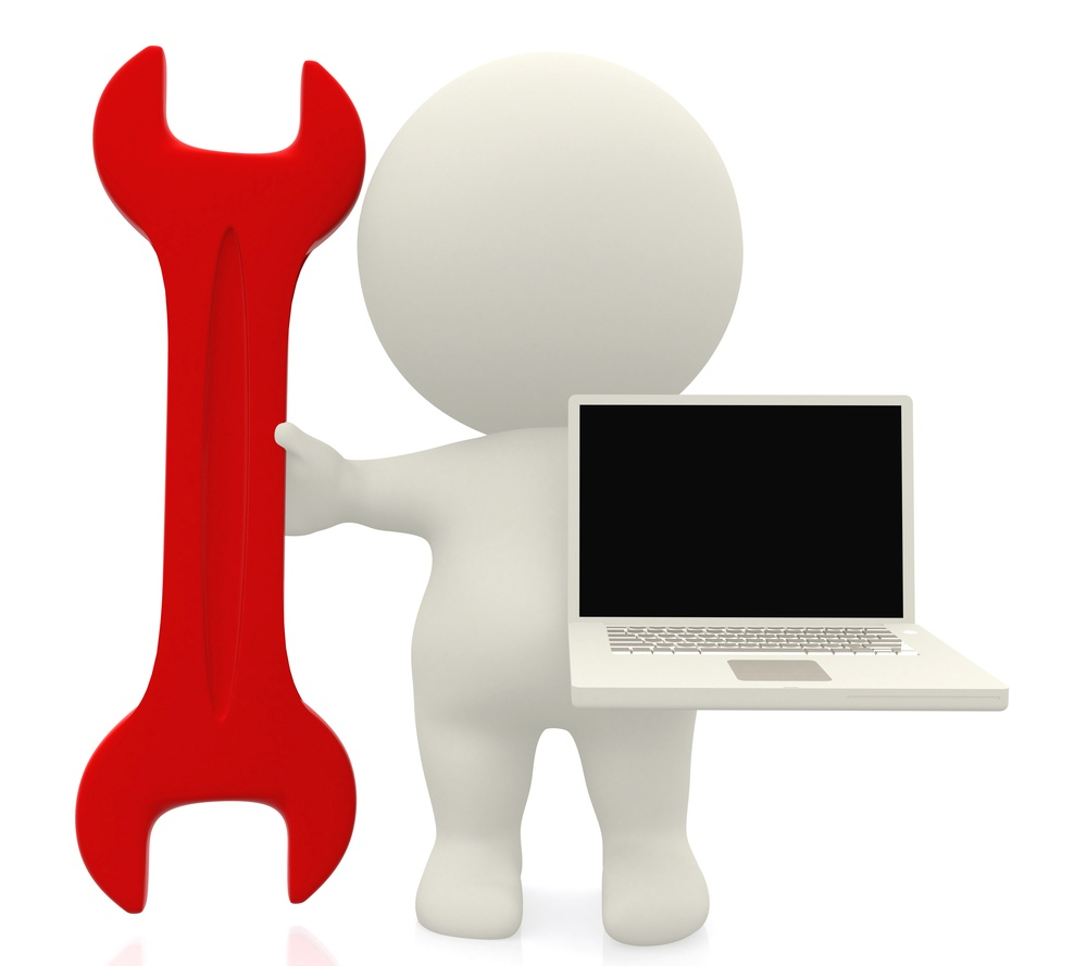 3D person with a spanner and a laptop isolated over a white background.jpeg