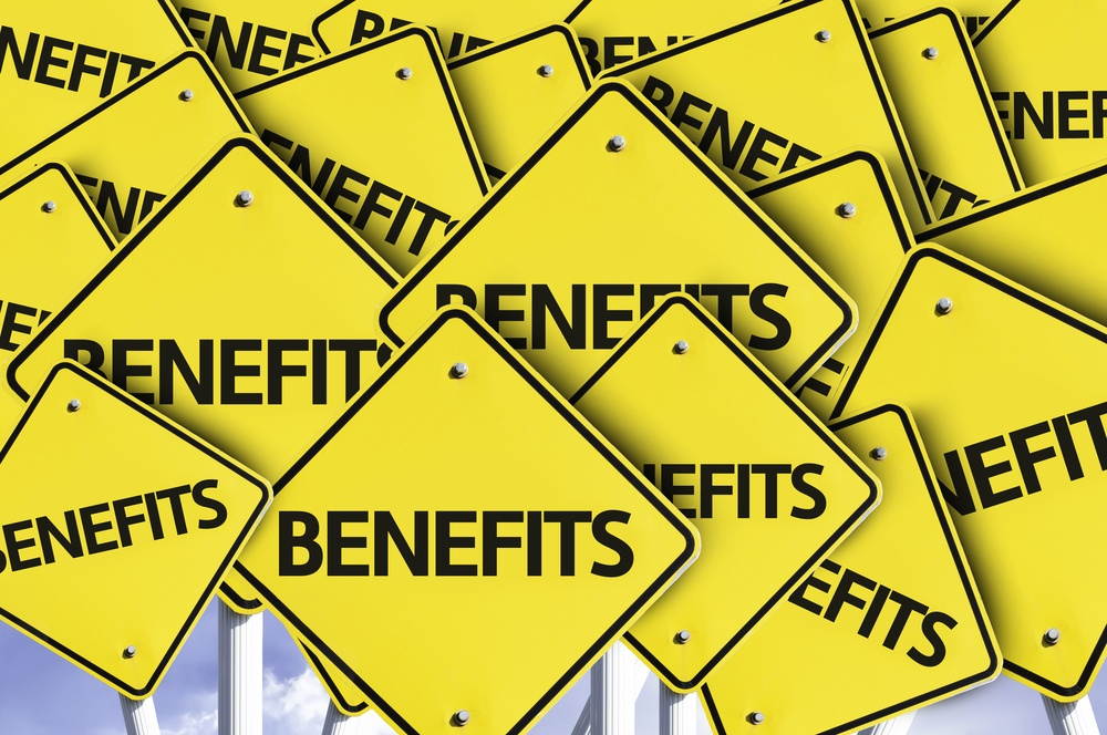 Benefits written on multiple road sign. too many benefits to choose from. need help