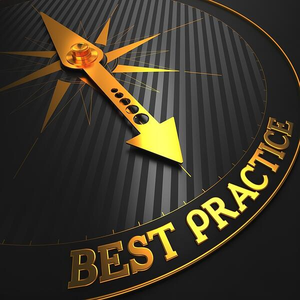 HR Best Practices - Business Background. Golden Compass Needle on a Black Field Pointing to the Word