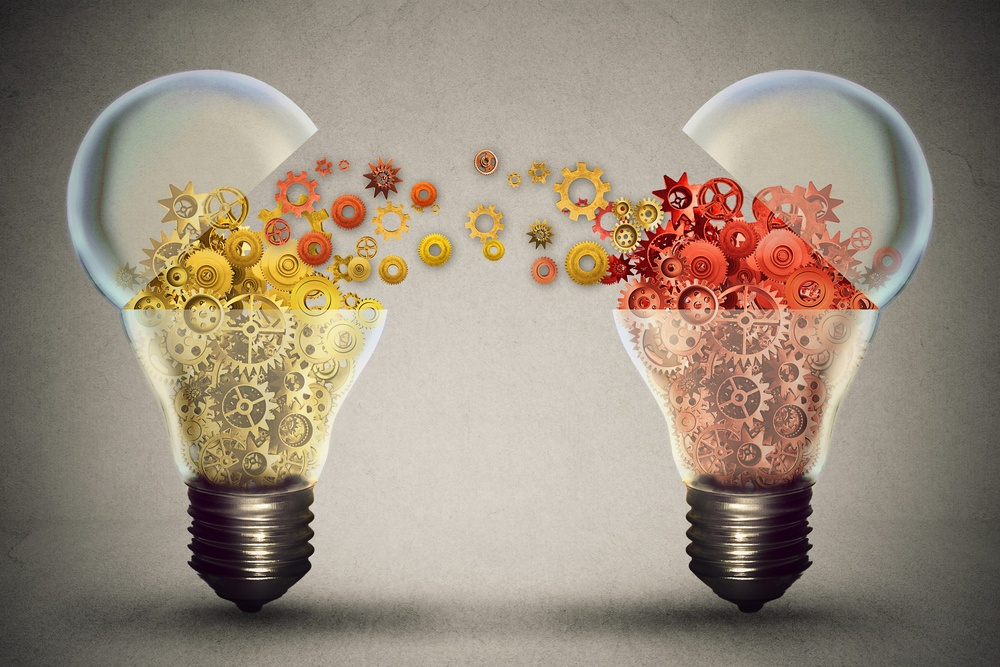 Idea exchange concept. Ideas agreement Investing in business innovation and financial commerce backing of creativity. Open lightbulb icon with gear mechanisms. Funding potential innovative growth .jpeg