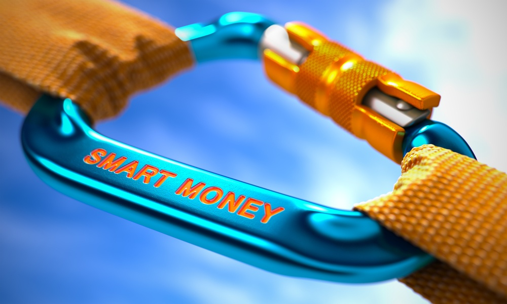 Smart Money on Blue Carabine with a Orange Ropes. Selective Focus. 3d..jpeg