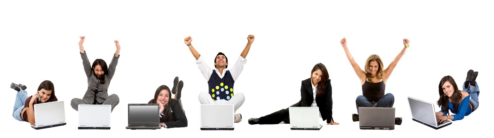 casual successful people on laptop computers isolated.jpeg